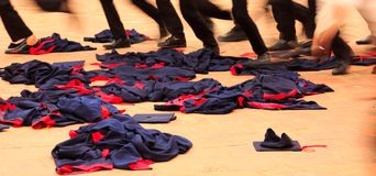 Graduate Students run over grad outfits during university graduation ceremony. Congratulation on Education Success, Graduation. Ceremony, Congratulate on stock photo