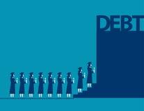 Graduate students walking into debt. Concept business debt illus Royalty Free Stock Photo