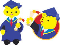 Graduate Teddy Bear University Mascot. Happy teddy bear mascot for university, school or kindergarten. Yellow plush toy holding degree certificate scroll and Stock Image