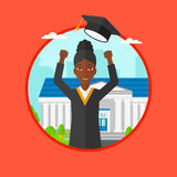 Graduate throwing up hat vector illustration. Royalty Free Stock Image