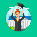 Graduate throwing up her hat. Royalty Free Stock Images
