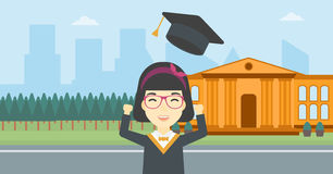 Graduate throwing up her hat vector illustration. Royalty Free Stock Photo