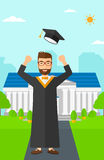 Graduate throwing up his hat. Stock Photography