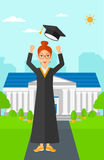 Graduate throwing up his hat. Royalty Free Stock Images