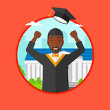 Graduate throwing up his hat vector illustration. Stock Photography