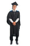 Graduate university student full length. Full body happy Asian male university student in graduation gown smiling, isolated on white background. Good looking Royalty Free Stock Image