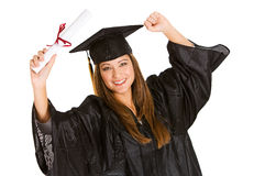 Graduate: Woman Cheering For Recent Graduation Royalty Free Stock Images