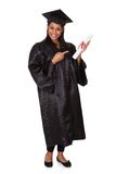 Graduate woman holding certificate Royalty Free Stock Photo