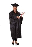Graduate woman holding certificate Royalty Free Stock Photos