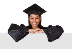 Graduate woman holding placard Royalty Free Stock Image