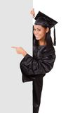 Graduate woman holding placard Royalty Free Stock Images