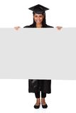 Graduate woman holding placard Royalty Free Stock Photos