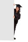 Graduate Woman Holding Placard Royalty Free Stock Photo
