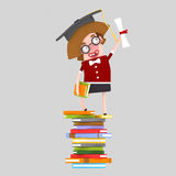 Graduate young girl leaning on a stack of books Stock Photo