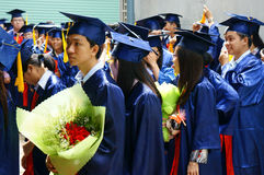 Graduate,  young human resources. HO CHI MINH CITY, VIETNAM- AUG 8 : Group of student in gown uniform standing, wait for graduate ceremony at university, young Royalty Free Stock Images