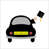 Graduated. Black car with just graduated on the number plate and hand throwing a cap out the window isolated on white background Royalty Free Stock Photos