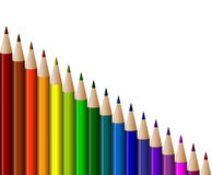 Graduated colored pencils Royalty Free Stock Images