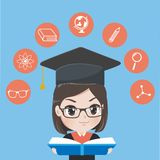 Graduated girl read books to gain knowledge. royalty free illustration