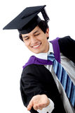 Graduated man holding something Royalty Free Stock Photos