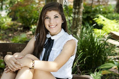 Graduated senior girl posing Stock Images
