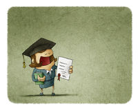Graduated student with diploma paper and book. Successful student in graduation cap holding diploma and book Royalty Free Stock Image