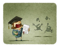 Graduated student with diploma paper and book. Successful student in graduation cap holding diploma and book. Silhouette of happy students throwing their hats up Stock Photos