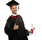 Graduated student man isolated on white Royalty Free Stock Photo