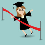Graduated student running to the finish line. Graduated student running to the red finish line Royalty Free Stock Photo