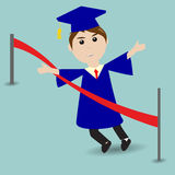 Graduated student running to the finish line. Graduated student running to the red finish line Royalty Free Stock Images
