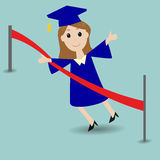 Graduated student running to the finish line. Graduated student running to the red finish line Stock Photography