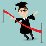 Graduated student running to the finish line. Graduated student running to the red finish line Royalty Free Stock Photos