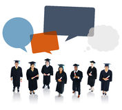 Graduated Student with Speech Bubbles Stock Photo
