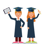Graduated students boy and girl with diploma Royalty Free Stock Photos