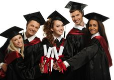 Graduated students isolated on white Royalty Free Stock Photos