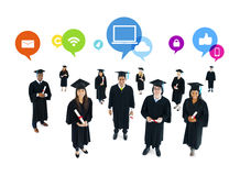Graduated Students with the Social Networking Stock Photos