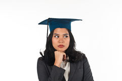 Graduated woman confusing her future career Royalty Free Stock Photography