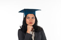 Graduated woman confusing her future career Royalty Free Stock Images