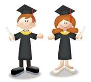 Graduates. Cartoon graduates in togas holding diplomas Royalty Free Stock Image
