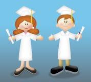 Graduates. Cartoon graduates in togas holding diplomas Stock Image
