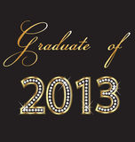 Graduates of 2013. Gold and diamonds design stock illustration