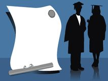 GRADUATES. Illustration of graduates, silhouettes standing beside diploma Stock Images