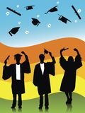 GRADUATES. Illustration of graduates, silhouettes throwing caps Royalty Free Stock Image