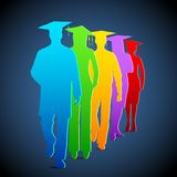 Graduates. Illustration of colorful graduates with mortar board Royalty Free Stock Images