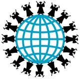 Graduates. On world line art logo Royalty Free Stock Image
