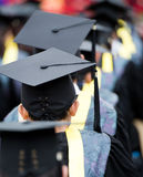 Graduates. Back of graduates during commencement Royalty Free Stock Photos