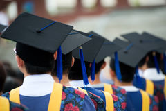 Graduates. Back of graduates during commencement Royalty Free Stock Images