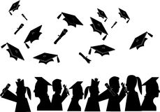 Graduates celebrating. Group of people who have graduated from their different learning fields Stock Image