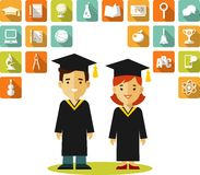 Graduates concept with people and education icons Stock Photos