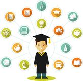 Graduates concept with people and education icons Stock Photo
