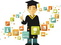 Graduates concept with people and education icons Stock Image